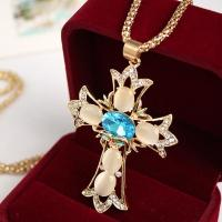 China Factory jewelry Direct Sale Gold Plating / Silver Plating Synthetic Opal Cross Pendant Necklaces on sale