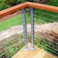 Cheap Stainless Steel Wire Decking Balustrade with Oak Wood Top Handrail for sale