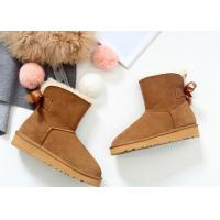 Best Comfortable / Warm Ankle Length Boots Anti Slip Ladies Sheepskin Boots With Wool Lining wholesale
