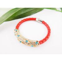 Best LB0033 Red  Crystal Leather Warp Bracelets , Elegant Designs and Excellent Finishing wholesale