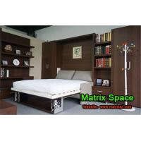 Cheap Dark Brown Vertical Wall Bed , Wood Double Space Saving Wall Bed With Bookshelf wholesale