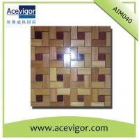 Quality interior teak wood mosaic wall tiles for indoor decoration