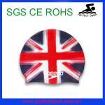 Best Wholesale Waterproof Fshion Silicone National Flag Swim Caps wholesale
