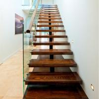 Best Mono Stringer Safety Indoor Tempered Glass Straight Staircase Design wholesale