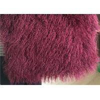 Cheap Wine Color Small Sheepskin Throw , Long Hair Windproof Tibetan Lamb Fur Pelts  for sale