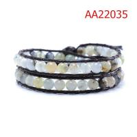Cheap Customized Handmade 36cm Green Beaded Leather Strap Bracelet Double Layer for sale