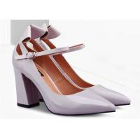 Best Beautiful Chunky Heel Pointed Toe Pumps , Patent Leather Pumps With Ankle Strap wholesale