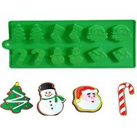 Best Christmas Tree Silicone Cake Molds With Snowman Santa Of 21.5 * 10 CM wholesale
