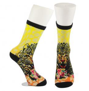 Best Yellow Anti Slip Custom Printed Socks , Eco - Friendly Soft Cute Printed Socks wholesale