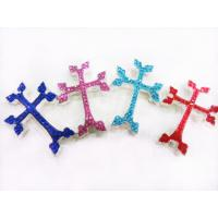Best Men's / Women's Jewelry Blue / Pink / Red Sideway Crystal Cross 31 * 45mm wholesale