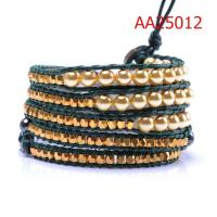 Best Unique Fashion Design,Charming Hand-wove Jewelry Pearl Material Leather Warp Bracelets wholesale