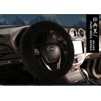 Best Dyed Black Sheepskin Steering Wheel Cover Hand Sewing for Car Decoration wholesale