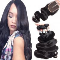 Best Loose Weave Lace Closure Peruvian Virgin Human Hair Weave With Closure 4X4 wholesale