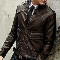 China Men's single face leather jacket with knitting hood on sale
