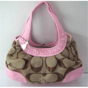 Best Coach handbag hobo bag shoulder bag pink canvas with leather wholesale