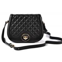 details of quilted genuine black leather crossbody bags