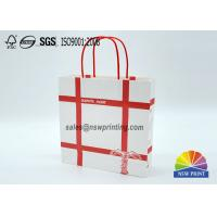 Best Personalized Recyclable White Custom Paper Shopping Bags With Red Rope Handle​ wholesale