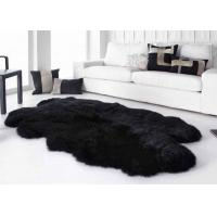 Cheap Smooth Surface Black Fur Throw Blanket , Black Extra Large Sheepskin Rug for sale