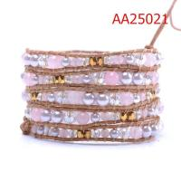 Best Unique Fashion Design, Pink Pearl Beads Leather Wrap Bracelets with Female Models Fashion wholesale