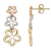 Cheap Earring(14K White, Pink and Yellow Gold Flower Earrings-EVIE0032) for sale