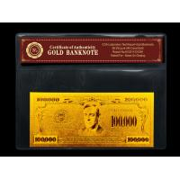 Best US $100000 gold dollar bill gold with PVC frame COA , Gold plated banknote gift wholesale