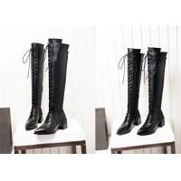 Best Long Lace Up Knee Length Boots Thick Middle Heel Spring Autumn Winter Available wholesale
