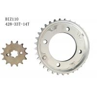 Best BIZ110 Motorcycle Chain And Sprocket Kit 33t-14t Metal Material Longer Usage Time wholesale