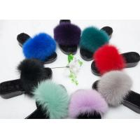 Cheap Ladies Luxury Fox Fur Cute Fuzzy Slippers , Indoor Ladies Fur Slippers  for sale