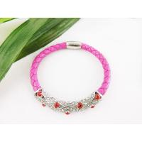 Best 20cm Customized Design Pink Leather Wrap Bracelets with Crystal Wholesale wholesale