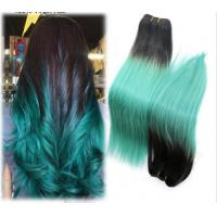 Best Dark Roots Green Ombre Human Hair Extensions /  Brazilian Hair Weave wholesale
