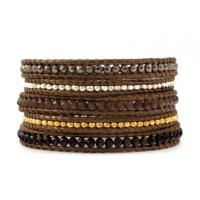 Best OEM Five Layer Brown Leather Wrap Around Bracelet Making With Colorful Beads wholesale