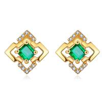China Square Shaped 18k Gold Jewelry Yellow Gold Emerald Stud Earrings With Diamond Accents on sale