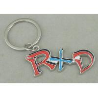 Best Zinc Alloy Synthetic Enamel Promotional Keychain Die Casting Silver RXD Key Ring wholesale