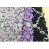 Best 3D Flower Embroidered Stretch Mesh Fabric , Coloured Tulle Lace Fabric wholesale