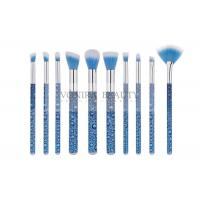 Best Eye Catching Blue Mass Level Makeup Brushes , Face And Eye Brush Set Water Look Handle wholesale