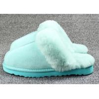 Best Anti Slip Ladies Sheepskin Mule Slippers , Ladies Wool Lined Slippers With Soft Leather Sole wholesale