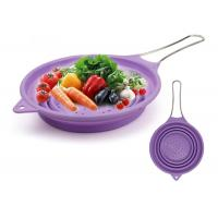 Best Collapsible Silicone Colander Foldable Strainer Kitchen Food Strainer with Stainless Steel Handle wholesale