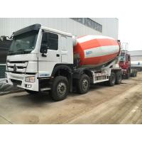 Best 266-371hp Euro2 Euro3 HOWO A7 Truck Concrete Mixer 8x4 10cbm In Red White Color wholesale