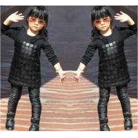Best Knit Black Winter Party Dresses For Girls , 7 To 8 Years Girl Dress Pu Leather Front wholesale