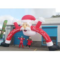 Best Santa Claus Christmas Inflatable Archway 210 D Oxford Cloth For Outdoor Event wholesale