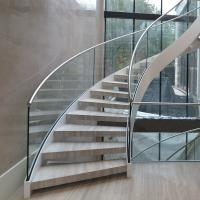 Best Modern Design Internal Design Solid Wooden Tread Curved Staircase wholesale