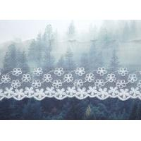 Best Custom Floral Embroidered Mesh Nylon Lace Trim With Scalloped Edge By Oeko Tex wholesale