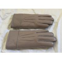 Best Double Face Mens Sheepskin Lined Leather Gloves Soft Warm For Winter / Driving wholesale
