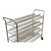 Best Four Tier  Industrial Wire Shelving / Silver Steel Antistatic Warehouse Trolley wholesale