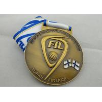 Best FIL U-19 Copper / Zinc Alloy / Pewter World Championship Ribbon Medals with Die Casting wholesale