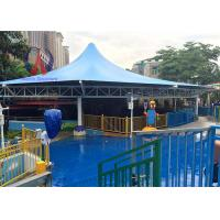Quality Membrane Cover Shade Pool Awnings Canopies , Cable Strained Swimming Pool Shade Structures wholesale