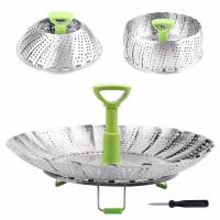 Best Folding SS Stainless Steel Steamer Basket For Food Fruit Vegetable Storage wholesale