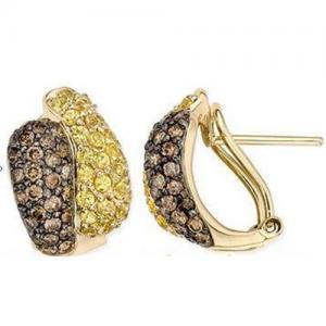 Best Earring Yellow Sapphire & Brown Diamond  Yellow Gold wholesale