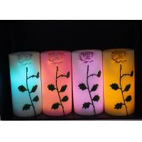 Best Rose Carved Wedding Led Candles Battery Operated With Color Changing wholesale
