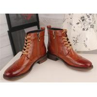 Best Wingtip Toe Womens Leather Brogue Boots , Lace Up Ladies Low Heel Ankle Boots wholesale